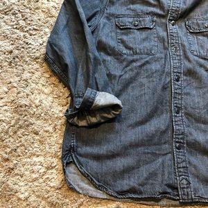 Gap long sleeve button down jean shirt size small